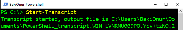 Powershell'de yazılan tüm komutları otomatik olarak dosyaya kaydetmek