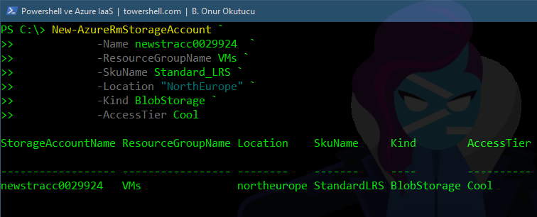 Powershell ile Azure Yonetimi – IaaS – Part 3 – Storage Account Olusturmak