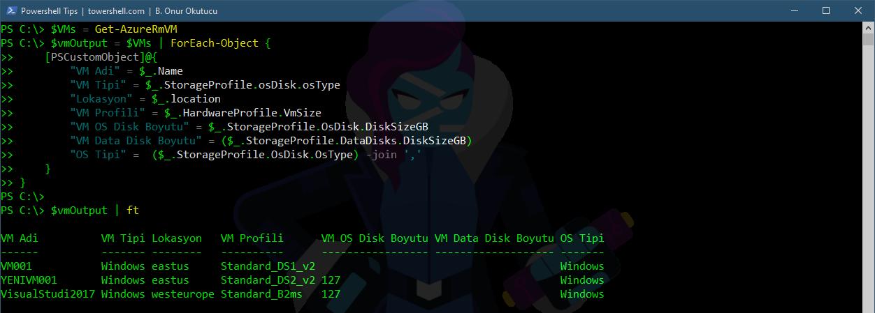 Azure VM Detaylarini Dosyaya Yazdirmak